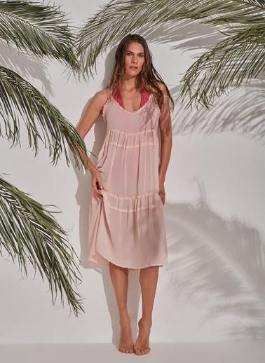 Morhipo Beach Şifon Askılı Elbise Pudra